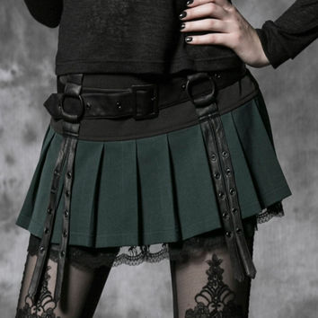 PUNK RAVE GOTHIC KILT DESIGN SEXY MINI GREEN LACE PLEATED SKIRT WITH STRAPS Q-220