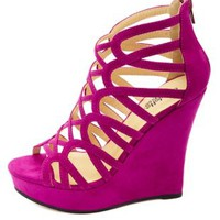 Looped Strappy Caged Platform Wedges by Charlotte Russe - Purple