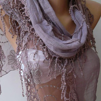 Lilac -- Elegance Shawl / Scarf with Lace Edge--