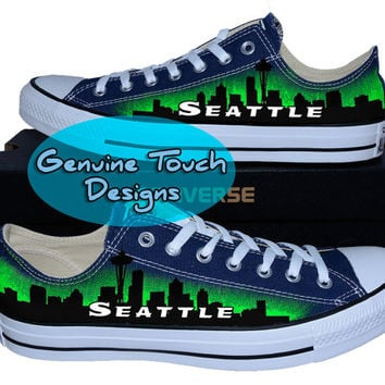 Hand Painted Converse, Seattle, Skyline, Space needle, Custom converse, Birthday Gifts, Christmas Gifts, Art work shoes