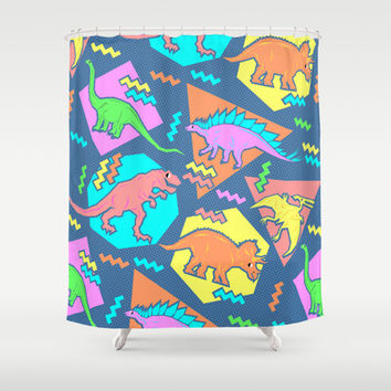 Nineties Dinosaur Pattern Shower Curtain by chobopop