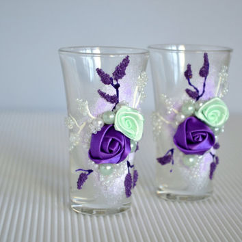 Wedding Trends ~ Wedding Shot Glass ~ Wedding Shot Glasses ~ Elegant Shot Glasses ~ Bride & Groom Shot Glasses ~ Mint Purple Wedding Colors