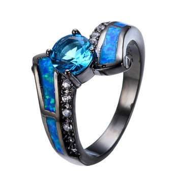 2016 Hot Selling Jewelry Size 6/7/8/9/10 Blue Opal Light Blue White CZ Black Gold Filled Band Anel Aneis Engagement Rings RB0305