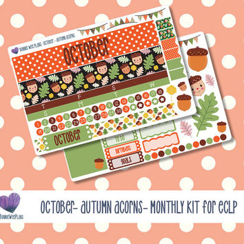 ECLP Monthly Spread Sticker Kit- October - Autumn Acorns