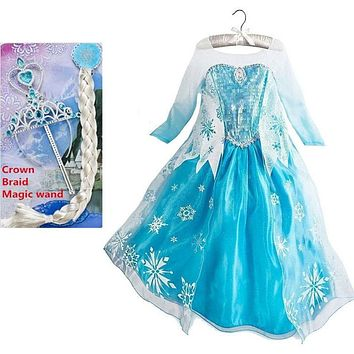 elsa dress girls Halloween Costumes for kids snow queen cosplay dresses princess anna elza fantasia vestido infantils