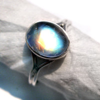 Rainbow Moonstone Bella Ring from twilight 925 by finegemstone
