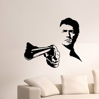 Wall Decal Vinyl Sticker Man with Gun Weapon Military Decor Sb440