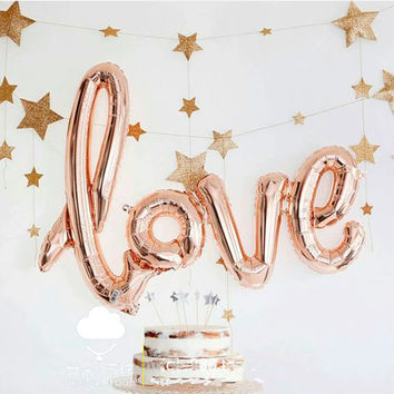 Large 105*64cm Romantic Wedding birthday party decor helium globos connected LOVE foil balloon giant link love letter balloon