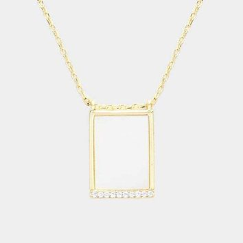 Brass Cz Mother Of Pearl Rectangle Pendant Necklace