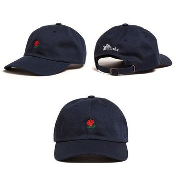 ESBONPR Navy Blue The Hundreds Rose Embroidered Unisex Adjustable Baseball Cap