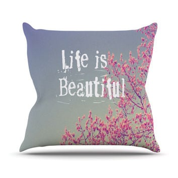"Rachel Burbee ""Life is Beautiful"" Throw Pillow"