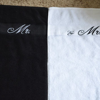 Monogrammed Mr. & Mrs. Bride/Groom Wedding Towel Set. Give them a Personalized/Embroidered Gift!