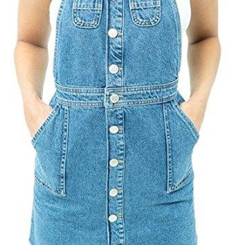 Denim Dungaree Dress Mini Pinafore Button Through  With Raw Hem