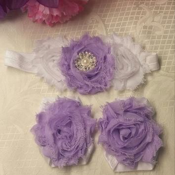 Fancy White and Purple Headband and Barefoot Sandal Set!