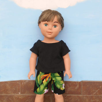 18 Inch Doll Clothes, Boy Doll Clothes, Hawaiian Print Swim Trunks, Boardshorts, with a Black T shirt, fits dolls sized like American Girl
