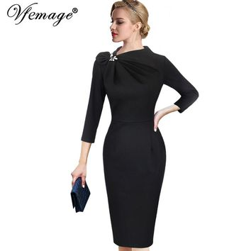 Vfemage Womens Autumn Elegant Pleated Bow Asymmetric Neck 3/4 Sleeve Slim Work Office Business Cocktail Party Sheath Dress 18333