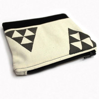 Triangle Pouch, Small Makeup Bag, Cotton Coin Purse, Hand Stamped Pouch, Gadget Holder, Geometric Pouch, Two Tone Pouch,Stamped Cosmetic Bag