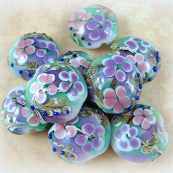 Lampwork Beads - Purple & Pink Floral - Colorful Lamp Work Lentil Bead - 18 to 20mm - Qty 2