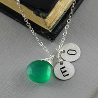Personalized Monogram Necklace, Green Chalcedony, Two Initial, Couple Necklace, Mother Gift, Daughter, son, Family Necklace, Gemstone