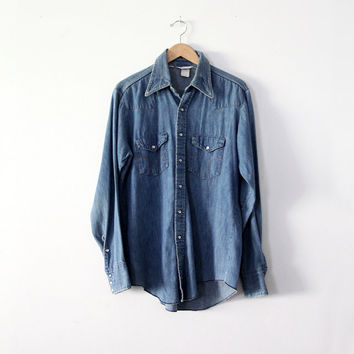 SALE vintage chambray shirt / Dickies denim snap up