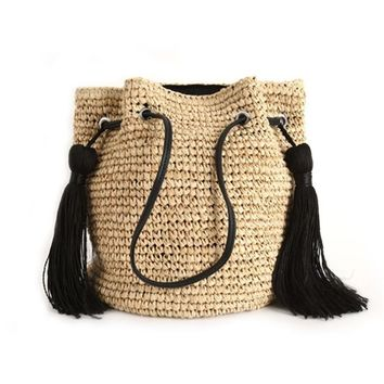 Famous Design Tassel Straw Bag
