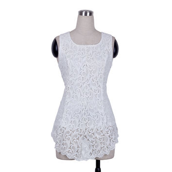 new Fashion Women Sleeveless Lace Scalloped Crochet zipper Peplums Solid Vest Asymmetric Tops Vestido BTY670 Size XS-XL