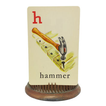 1950s Alphabet Flash Cards, Hammer Illustration, ABC Picture Card, Vintage Tools, Ephemera, Scrapbooking, Collage Mixed Media Supply