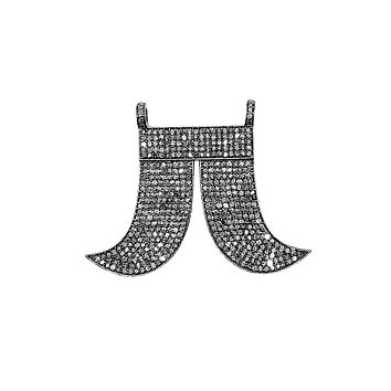 SP-9092-BR Sterling Silver Teeth Enamel Pendant With Champagne Diamond and Black Rhodium Plated 33X45MM