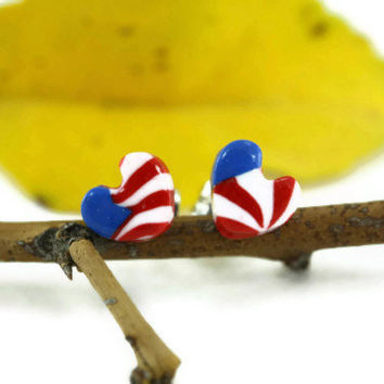 Red White blue Earrings, Tiny Heart Stud Post, Patriotic Jewelry, USA, 4th of July Jewelry, Independence Day, Red White and Blue Jewelry