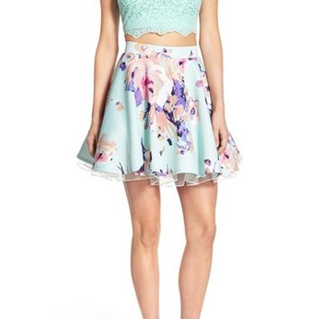 Way-In Lace Bodice Floral Print Two-Piece Dress | Nordstrom