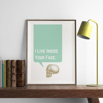 Skull Print | Kitchen Wall Art | Art Printable | Printable Wall Art | Home Decor | PDF Download | Funny Art