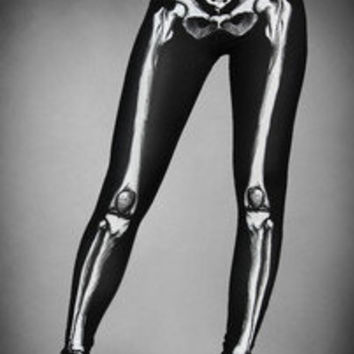 Skeleton Leggings Spandex Black gothic Lolita goth Death Rock punk Cyber bones