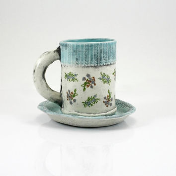 Espresso Mug | coffee mug tea cup with saucer | matte robins egg pastel blue with floral decals | sweater cuff design | in stock