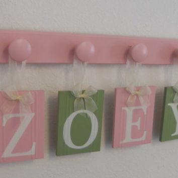 Pink and Green Plaques Baby Name Wall Hanging Sign Set Personalized for ZOEY with 4 Wooden Peg Board Light Pink