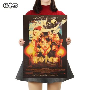 TIE LER Harry Potter Movie Kraft Paper Cafe Bar Poster Retro Decorative Painting Wall Stickers 50.5X35cm