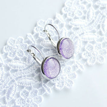 Violet Earrings, Dangle, Purple Earrings, Lilac Earrings, Sparkle, Glitter, Silver Plated, Lever back earrings, Cabochon, Gift, Cheap