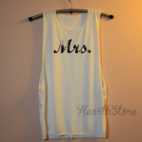 Mrs. Shirt Muscle Tee Tank Top TShirt T Shirt Yoga Top Gym Workout Tank - size S M L