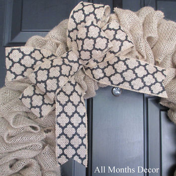 Natural & Black Lattice Print Burlap Bow, Wreath, Wedding, Floral, Spring, Easter, Year Round, DIY Projects, Multipurpose