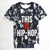 2015 new men/women t shirt 3d tupac/wiz khalifa/dgk/unkut/eminem print tshirt hip hop fashion rock t-shirt camisetas ropa hombre