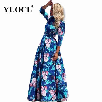 YUOCL vestidos New Fashion Women Summer Dress Print Long Maxi Dresses Beach Dress Long Sleeve Bohemian Dress
