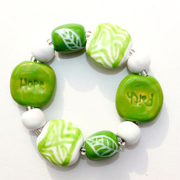 HOPE and FAITH Beadwork Bracelet, Green and White Ceramic Kazuri Beadwork Bracelet, African Fair Trade Beads