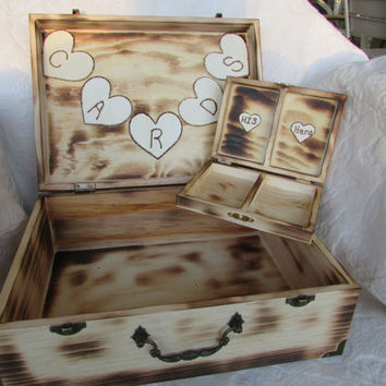 Rustic Wood Burned His Hers Divided Wedding Set Card Ring Bearers Box Hearts