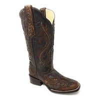 Corral Women's Brown Overlay and Studs Square Toe Boots G1349