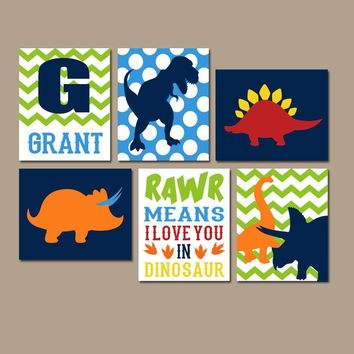 DINOSAUR Wall Art,DINOSAUR Canvas or Prints,Dino Theme Decor,Rawr Means I Love You,Baby Nursery Decor,Big Boy Bedroom Pictures,Set of 6