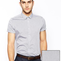 ASOS Smart Shirt In Long Sleeve With Wide Pin Stripe - Gray