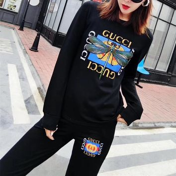 """Gucci"" Women Casual Fashion Embroidery Dragonfly Letter Pattern Print Long Sleeve Trousers Set Two-Piece Sportswear"