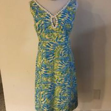 Lilly Pulitzer Blue Green Alligator Dress Size 12 EUC
