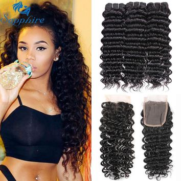 Sapphire Brazilian Hair Weave Bundles Deep Curly Human Hair Bundles With Closure 3 Bundles With Closure Human Hair Extensions