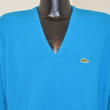 80s Izod Lacoste Royal Blue Pullover Sweater Men's Large