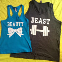 Free Shipping for US Beauty And The Beast Valentine's Day Matching Couples Tank Tops/Shirts:Charcoal Grey&Turquoise Different Version